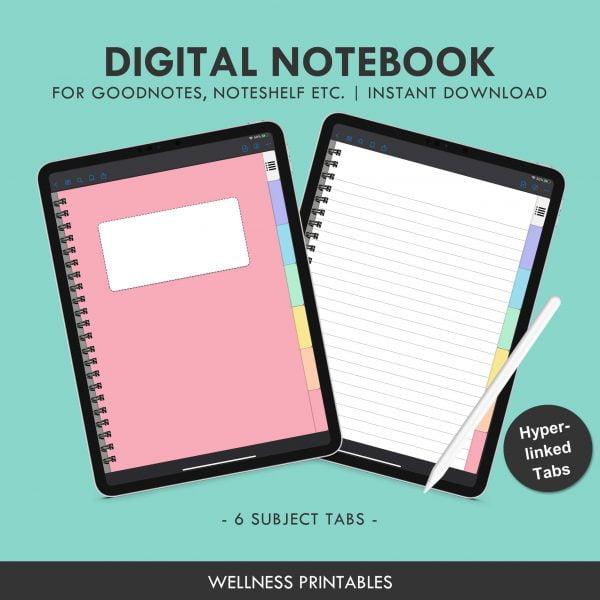 digital notebook 6 tabs