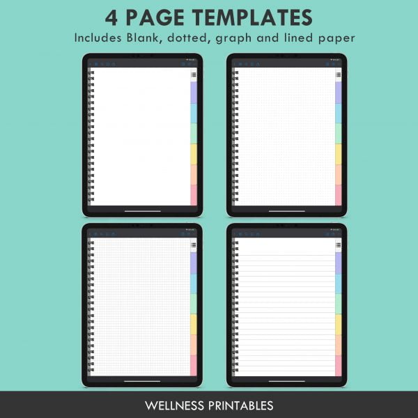 digital notebook page templates