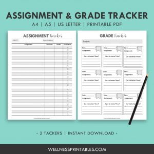 Assignment and Grade Tracker Printable