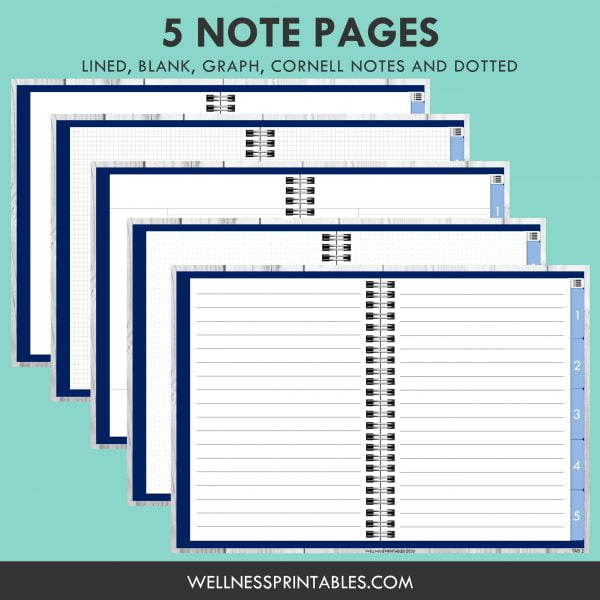 free digital notebook template pages