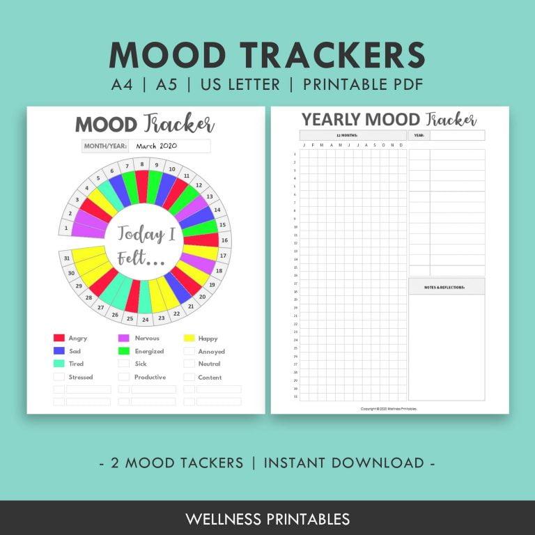 Mood Tracker Chart Planner Insert