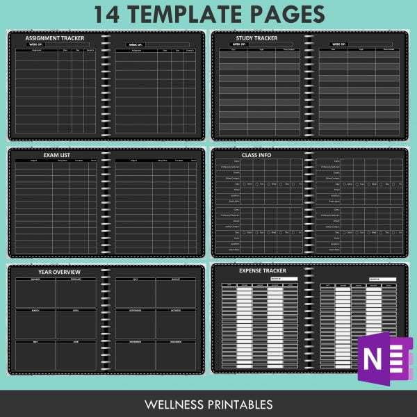 OneNote templates for student planner