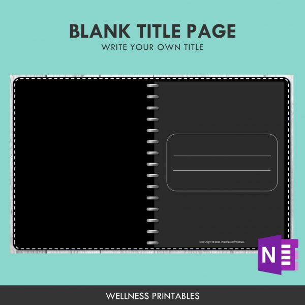 onenote undated planner title page