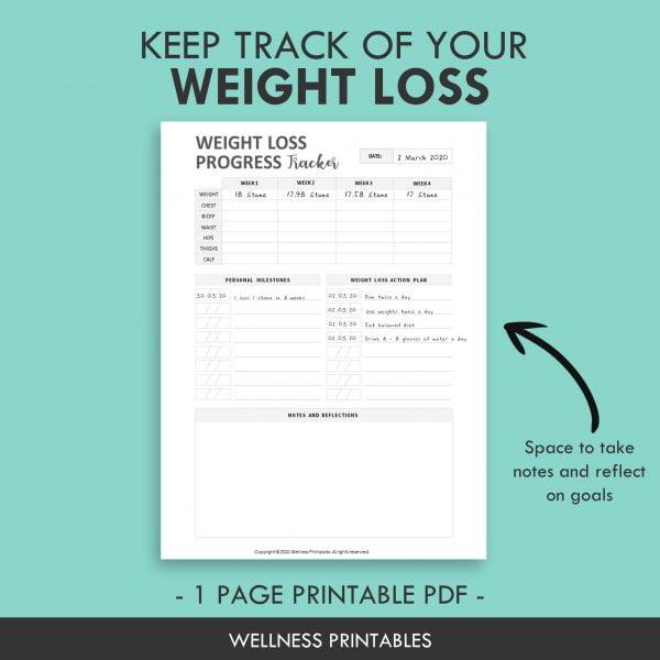 weight loss tracker planner insert