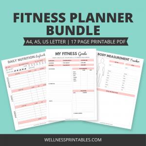 fitness planner printable bundle