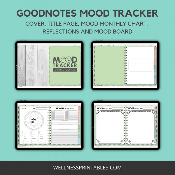 Mood Tracker Undated Digital Planner mood journal pages