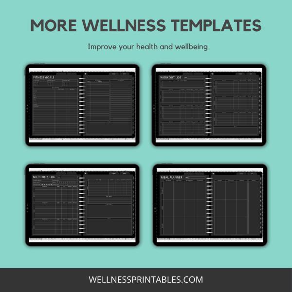Undated digital planner wellness planners