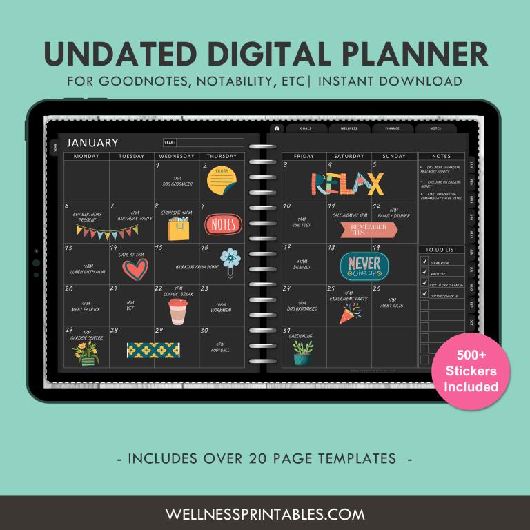 Undated Digital Planner for Goodnotes, Notabilty, ETC