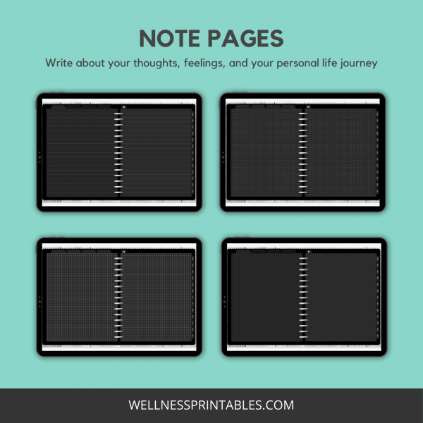 Undated digital planner note pages