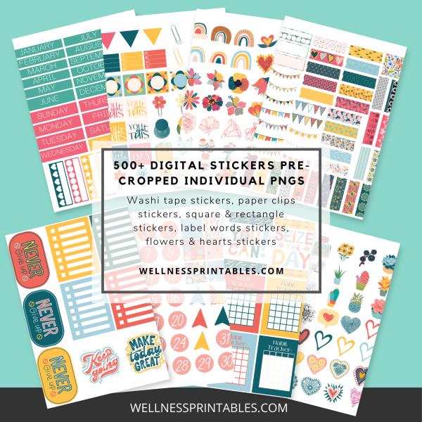 Undated digital planner digital stickers
